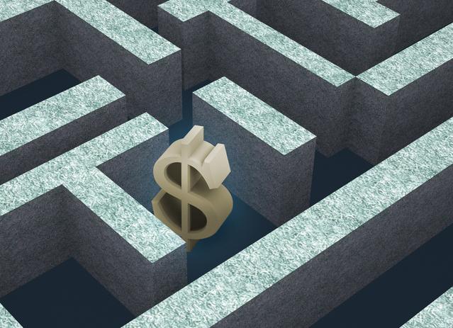 symbol peněz uvězněný v bludišti dluhů